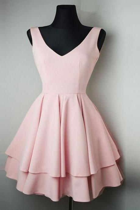 Princess Pink Chiffon Short Homecoming Dress,Party Dress