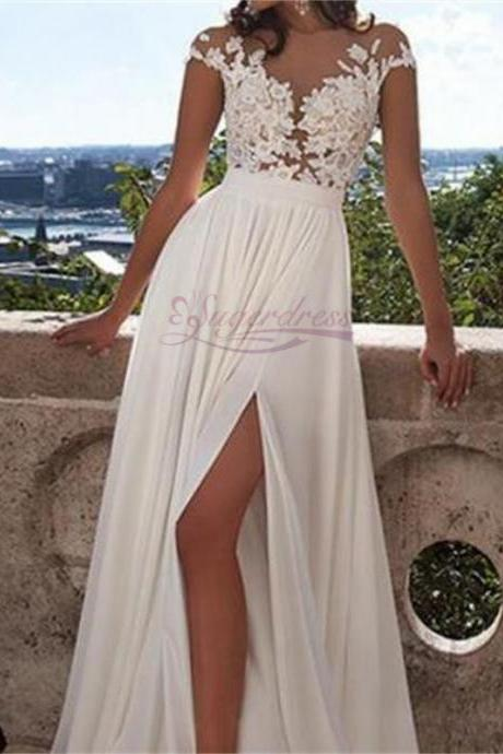 Cap Sleeves Appliques Chiffon Long Bridal Dress with Split