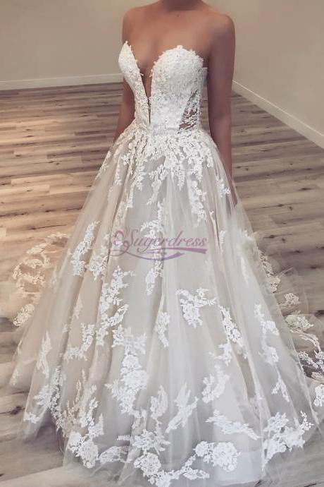 Sweetheart Strapless Ivory Long Wedding Dress with Appliques